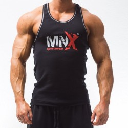 MNX BLACK RIBBED TANK TOP (Mnx Sportswear)