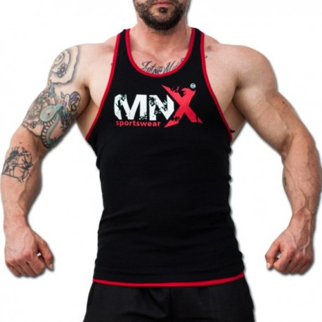 MNX BLACK&RED RIBBED TANK TOP (Mnx Sportswear)