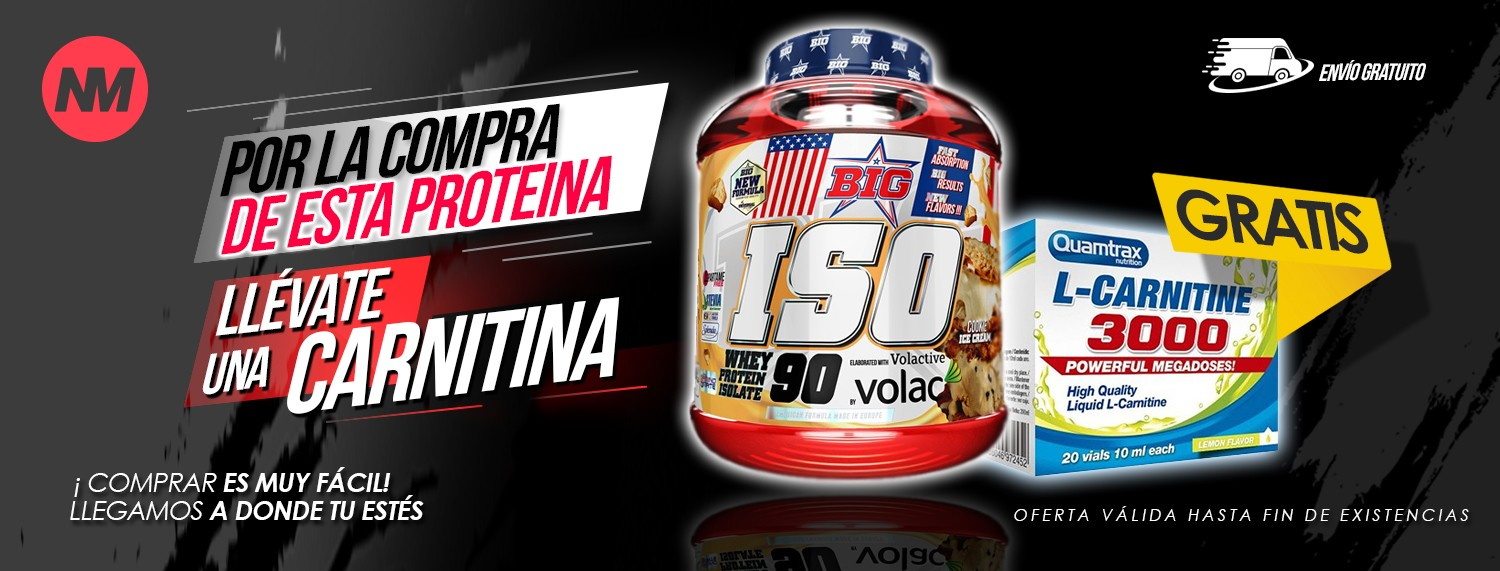 Big Iso (2 kg) Big Nuutrition + L-Carnitina 3000 De Quamtrax (REGALO)